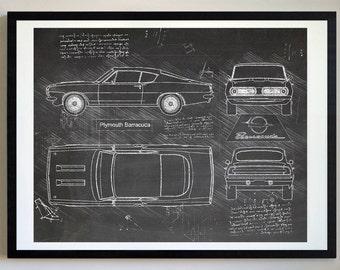Plymouth Barracuda (1968) Barracuda Artwork, Blueprint Specs, Blueprint  Patent Prints Posters,
