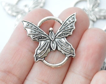4 Pcs Butterfly Connector Charms Antique Silver Tone 27x25mm - YD0317