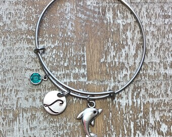 Dolphin bracelet - dolphin jewelry - charm bracelet - beach bracelet - dolphins- dolphin bangle - friendship bracelet - ocean bracelet