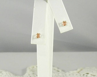 Oregon Sunstone .50 TCW 4.1 MM Round Solitaire Sterling Silver Stud Earrings