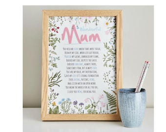 Mothers Day Gift - Poem Gift For Mum - Wonderful Mum Print - Mum Poem - Personalised Gift For Mum - Present For Mum -