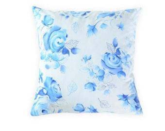 Blue pillow cover - Floral blue pillow cover