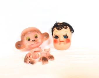 Vintage Plastic Doll Heads, Vintage Doll Making Heads, Vintage Crying Monkey Doll Head, Vintage Monkey Head, Vintage Doll Face