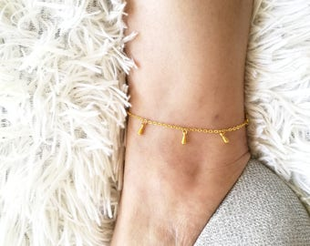 Drop Anklet, Tiny Gold Drop Anklet, Dainty Gold Anklet, Delicate Gold Anklet, Gold Anklet, Minimal Anklet, Gold Ankle Bracelet, Anklet