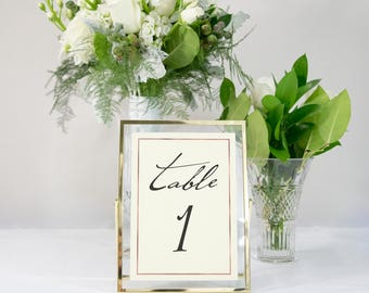 Ivory and Rose Gold Foil Border Table Numbers Handmade Wedding Style #0142