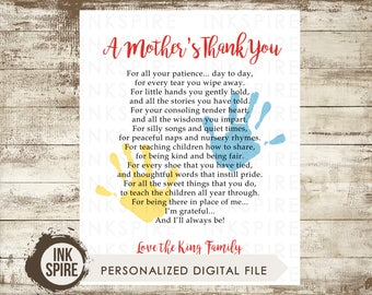Personalized Daycare Provider Print, Daycare Provider Gift, Caregiver Gift, A Mother's Thank You, Teacher Appreciation, DIGITAL FILE