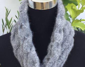 Ladies Dark Grey Alpaca luxury snood by Willow Luxury