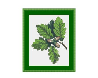 Oak Leaves & Acorns Counted Cross Stitch Pattern / Chart,  Instant Digital Download (AP187)