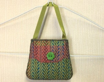 Welsh tweed lavender bag, lavender sachet in green & pink with green ribbon handle