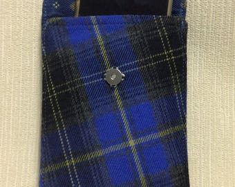 Wool phone case, cell case in blue & black check