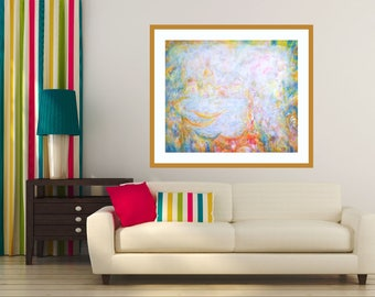 Venice Harbour, Large Painting, Canvas Giclée Print, Abstract Seascape Art, Acrylic Painting, Modern Wall Art, Venice Motif, Cosy Home Decor