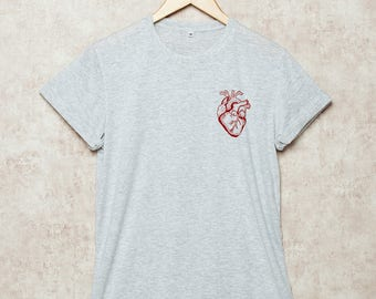 Heart Shirt Human Heart Shirts Anatomical Tshirt Anatomy T-Shirt Red Heart Size S , M , L , XL , 2XL , 3XL Grey White