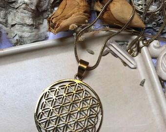 Sacred Geometry Flower of Life Pendant, Seed of life ,Yoga Jewellery, Tribal Pendant, Indian Brass Jewellery, Ethnic Pendant,supplies