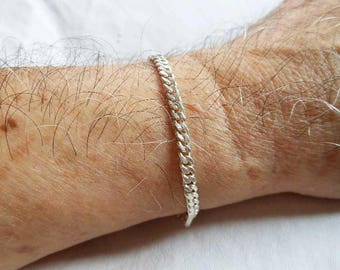Men 3.5 mm Wide Sterling Silver Flat Curb Chain Bracelet,Flat Curb Bracelet,Silver Flat Curb Bracelet,Flat Curb Chain,Personalized Gifts
