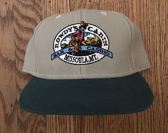 Vintage Rowdy's Cabin Casino Bar Missoula Montana Strapback Hat Baseball Cap
