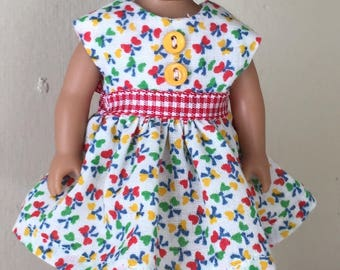 "6"" mini doll clothes: print dress with buttons and gingham check sash"