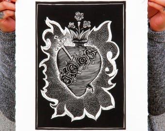 Art Burin Print, Hearts, Art Print, Linocut, Hand Made, Family, El Corazón que todo lo trasciende. LOVE.