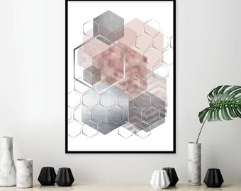Bedroom Items. Pink and Grey  Printable Art Downloadable Print Silver Geometric Bedroom Decor decor Etsy