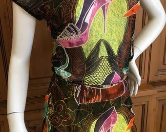 John Galliano 2002  Shoe Sketch Silk Two Piece Dress