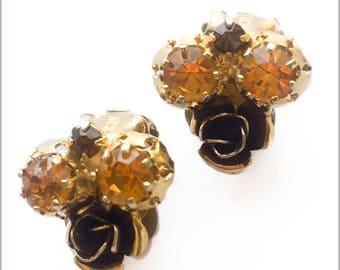 Vintage 50's Austrian Crystal Clip On Earrings