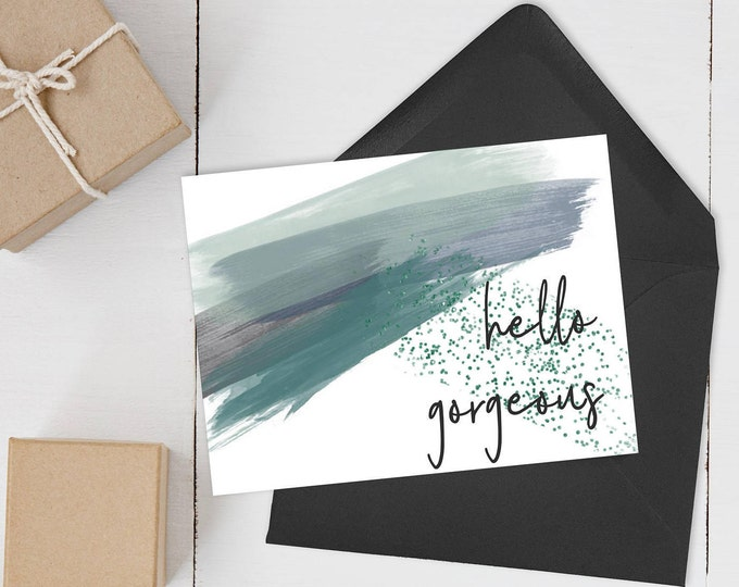 Featured listing image: Hello Gorgeous - Watercolor Anniversary Card for Her