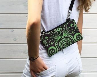 Green Mandala Fanny Pack Festival, Mini Waterproof Bag, Black Mandala Bumbag, Boho Bag, Vegan Bag, Vegan Belly Bag, Waterproof Bag