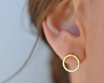 Circle Stud Earrings, Circle Earrings, Gold Stud Earrings, Gold Circle Earrings, Geometric Jewelry, Geometric Earrings, Mini Gold Earrings