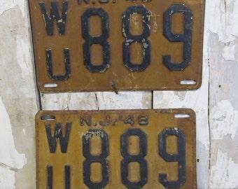 Vintage 1948 New Jersey License Plate Set, Industrial Decor