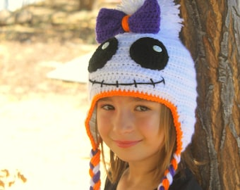 Girls Ghost hat, Fun Sweetheart ghost hat, White Ghost hat with big purple bow, baby ghost hat, Girls Ghoul Hat