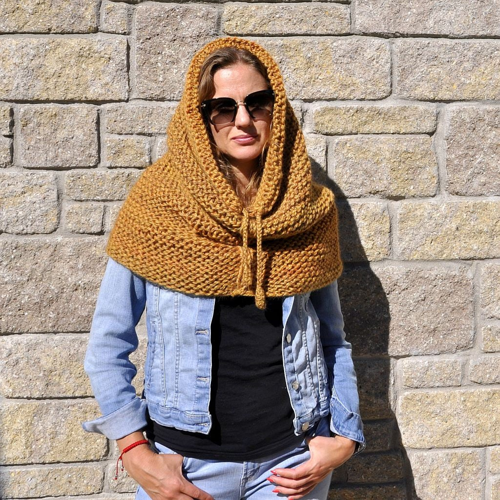 Chunky cowl scarf snood | Hooded scarf | hooded cowl - knit snood ...