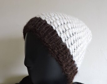 Winter Hat thick white Alpaca