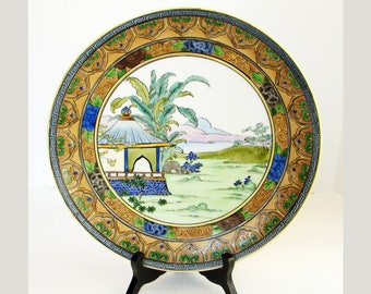"""Nippon 11"""" Scenic Wall Charger Plate, Hand Painted, Decorative Japanese Porcelain, House Lake Mountains Scene, Antique Wall Charger"""