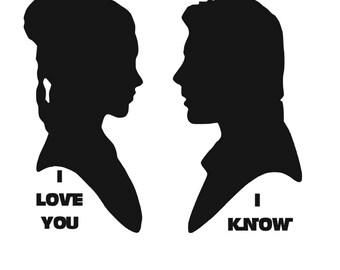 Star Wars Han & Leia Vinyl Silhouettes