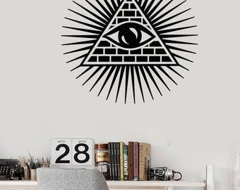 Wall Vinyl Mural Art All Seeing Eye of Providence Decor For Living Room  (#2682dn)