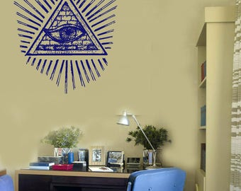 Wall Vinyl Decal Images All Seeing Eye of the Illuminati Living Room Decor (#2693dn)