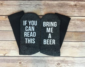 If You Can Read This Bring Me A Beer Socks, Beer Socks, Novelty Socks, Gift for Beer Lover, Gifts for Dad, Gifts for Him. Stocking Stuffers