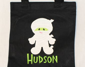 Halloween Trick or Treat Bag, Halloween Tote Bag, Personalized Trick or Treat Bag - Canvas Bag with Appliqued with Mummy