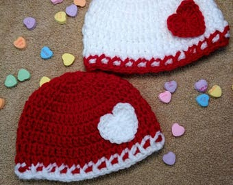 Valentine Hats- (2) 3-6month, (1) Red w/ Wht Hrt, (1) Wht w/ Red Hrt ONLY Ready to Ship