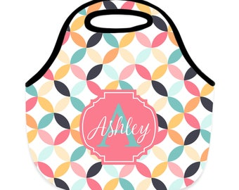 Personalized Retro Circle Neoprene Lunch Bag - Lunch Tote