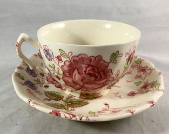 Vintage Rose Chintz Collectible Teacup and Saucer Set - Johnson Bros Ironstone Pink Stamp Made in England