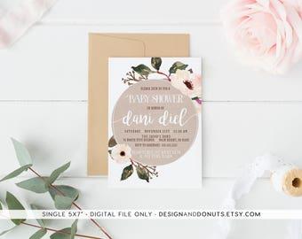 Girl Baby Shower Invitation, Watercolor, Floral, Burlap, Anemone [304]