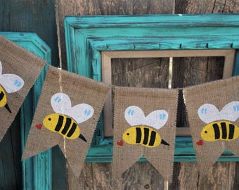 Bumble Bee Burlap Banner Garland Sign