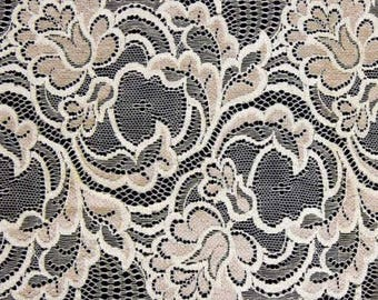 2m Cream Stretch Lace Trim Sewing and Dressmaking Edging 170mm LC31