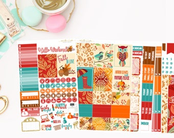 Autumn Deluxe Kit, planner stickers