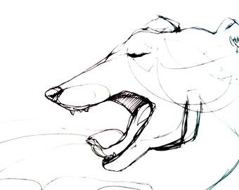 Illustrazione cane o gatto sbadiglio