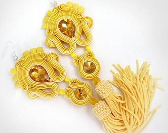 Yellow Tassel Earrings, Long Clip on Earrings with Crystals, gioielli Soutache Earrings, Sparkling Tassel Earrings, Boho Soutache Earrings