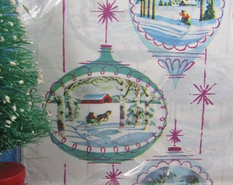 Vintage Dennison Christmas Gift Wrap Snowy Winter Scene Sealed Folded Paper Cutting Down the Tree Horse Drawn Sleigh Atomic Ornaments