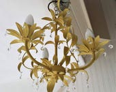 Crystal chandelier lighting, shabby chic pendant light in English Yellow, vintage crystal octagons, leaf decor ceiling lighting, farmhouse