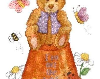 "Bear on Flower Pot with Daisies, Butterflies & Bees Stamped Cross stitch Kit NIP Janlynn 079-0031 Debra Bryan 12"" X 15"" Sampler"