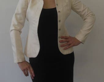 Alexander McQueen Cream Colored Silk Blazer with Belt Slits Size IT 40 (Small)